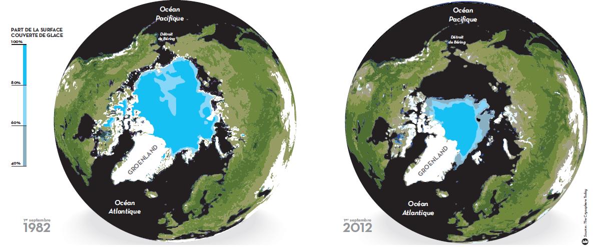 Vue satellite de la fonte des glaces du pôle Nord