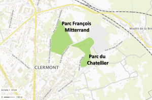 Localisation des parcs du parcours dans Clermont