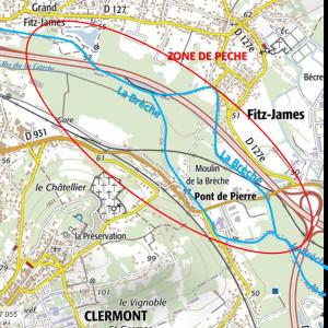 Localisation de la zone de pêche dans les marais de Clermont